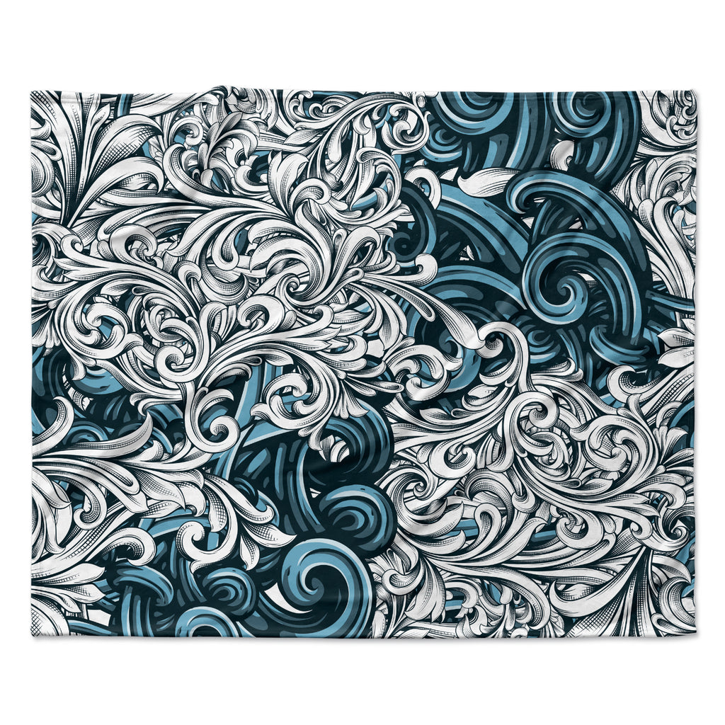 "Nick Atkinson ""Celtic Floral II"" Abstract Blue Fleece Throw Blanket"