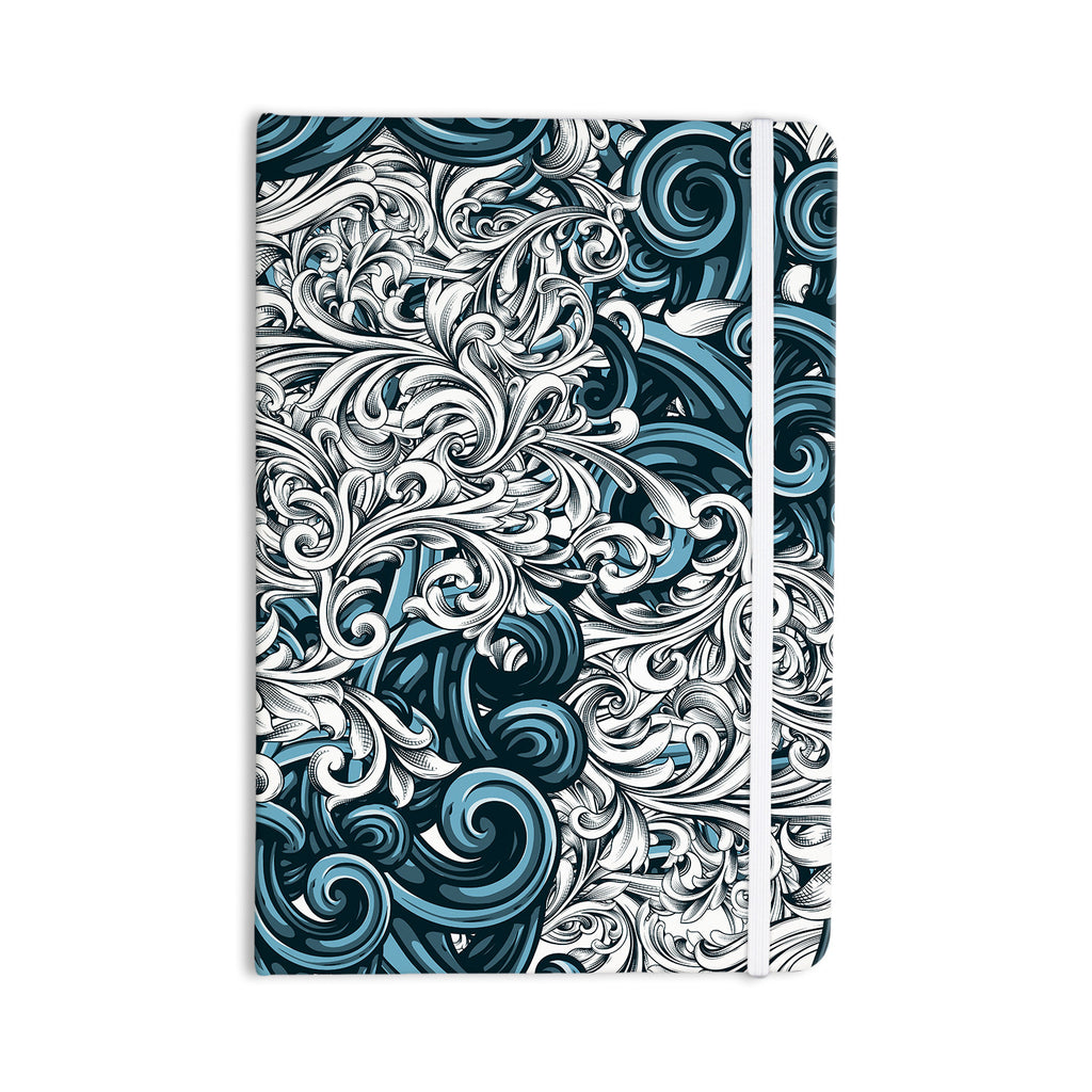 "Nick Atkinson ""Celtic Floral II"" Abstract Blue Everything Notebook - KESS InHouse  - 1"