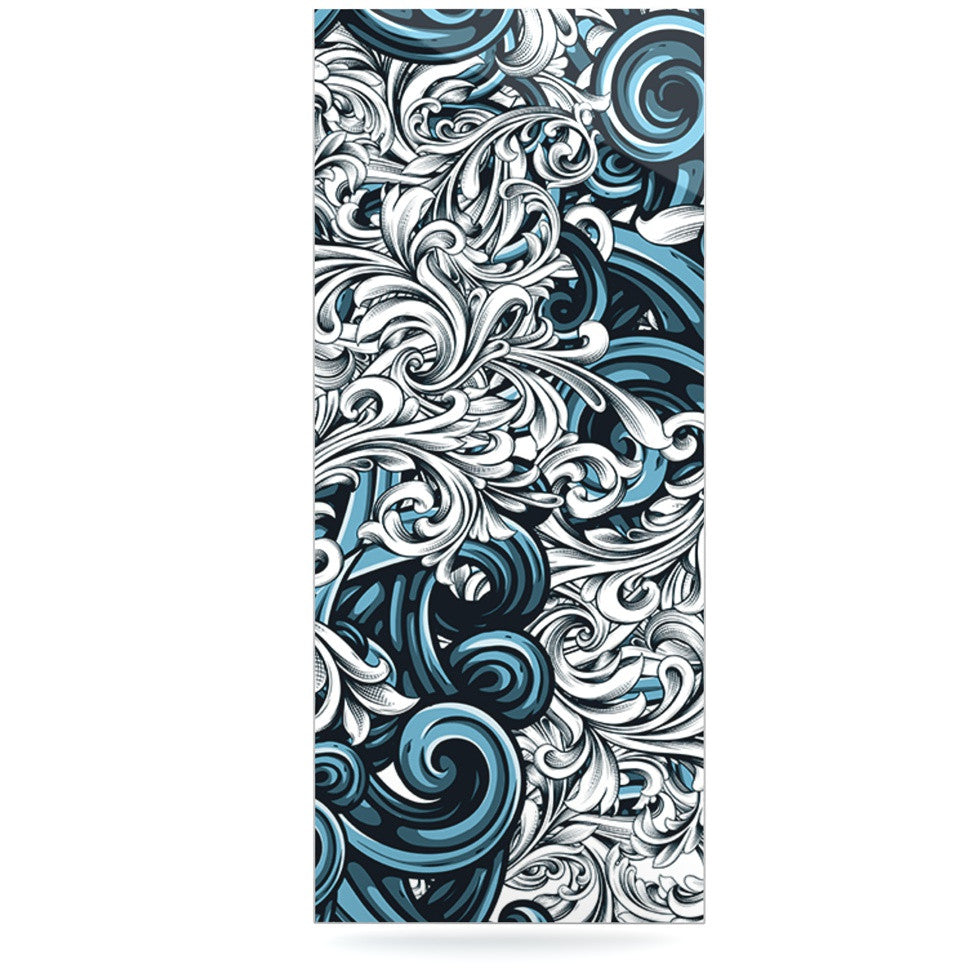 "Nick Atkinson ""Celtic Floral II"" Abstract Blue Luxe Rectangle Panel - KESS InHouse  - 1"