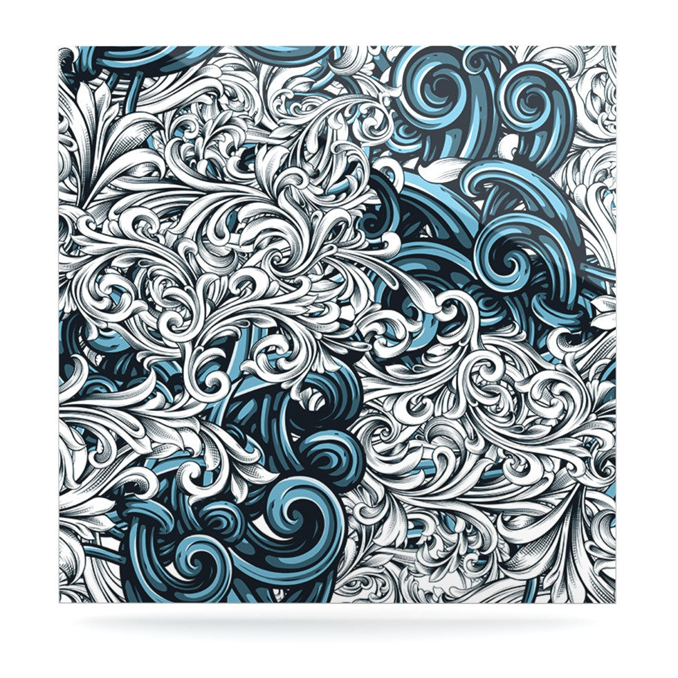 "Nick Atkinson ""Celtic Floral II"" Abstract Blue Luxe Square Panel - KESS InHouse  - 1"