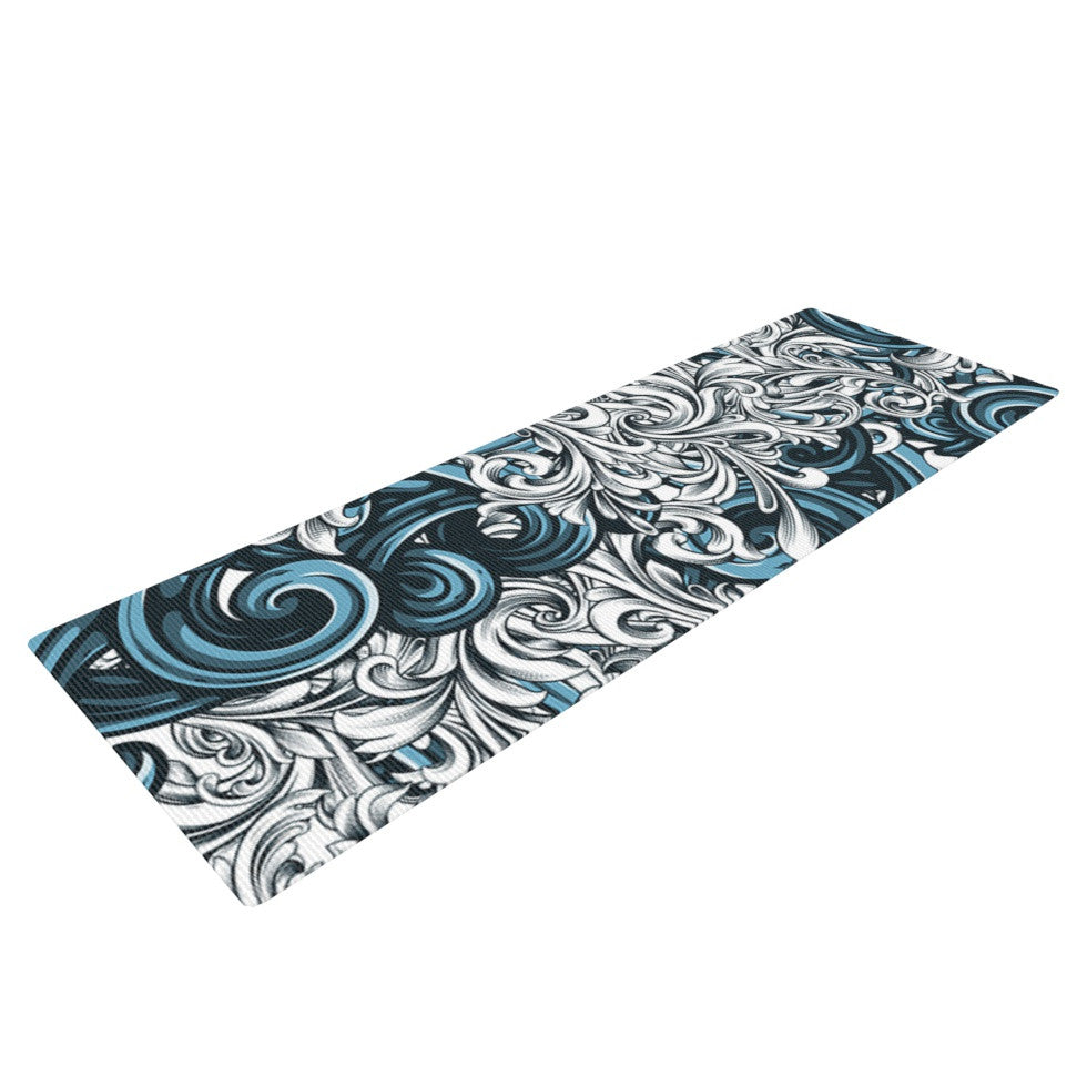 "Nick Atkinson ""Celtic Floral II"" Abstract Blue Yoga Mat - KESS InHouse  - 1"