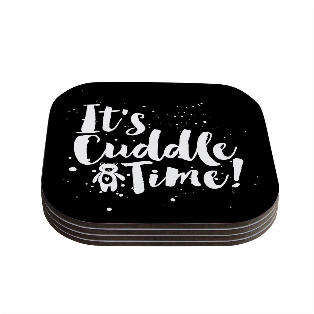 "Nick Atkinson ""Cuddle Time"" Black White Coasters (Set of 4)"