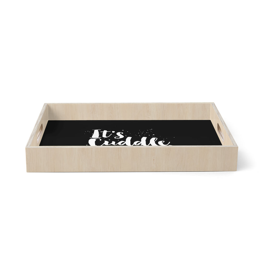 "Nick Atkinson ""Cuddle Time"" Black White Birchwood Tray"