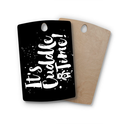 "Nick Atkinson ""Cuddle Time"" Black White Rectangle Wooden Cutting Board"