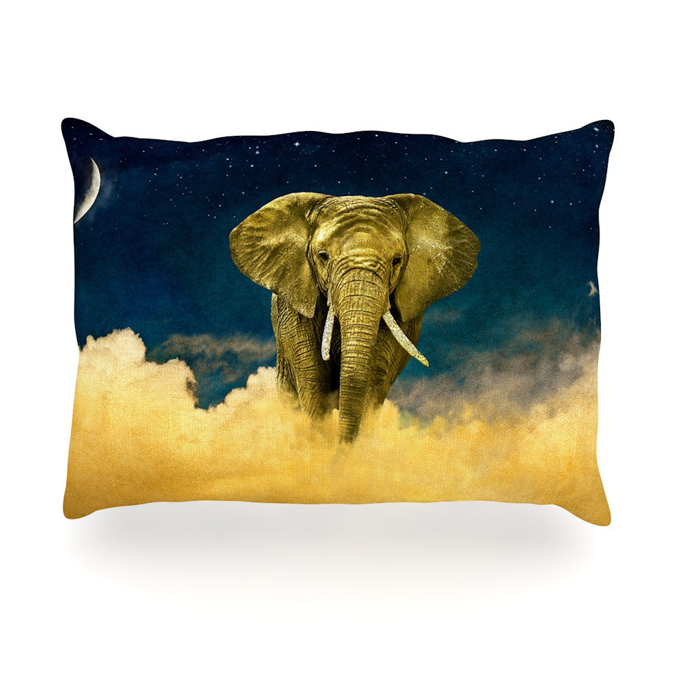 "Nick Atkinson ""Celestial Elephant"" Black Blue Oblong Pillow - KESS InHouse"