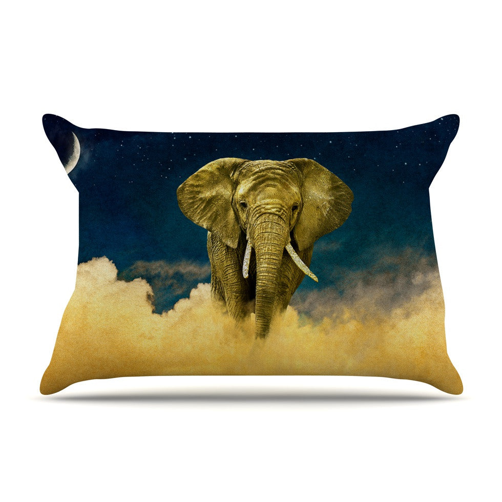 "Nick Atkinson ""Celestial Elephant"" Black Blue Pillow Sham - KESS InHouse"