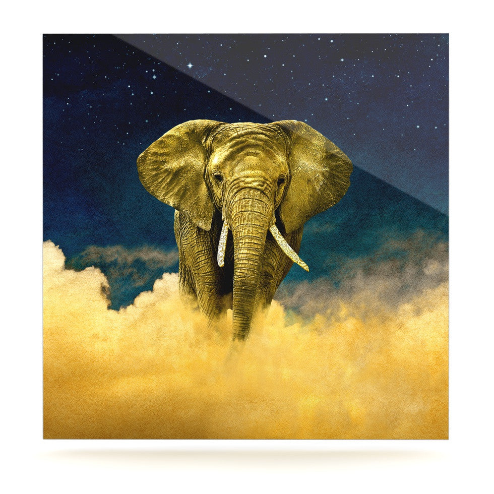 "Nick Atkinson ""Celestial Elephant"" Black Blue Luxe Square Panel - KESS InHouse  - 1"