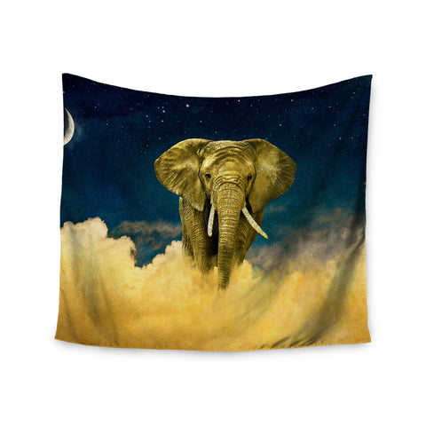 "Nick Atkinson ""Celestial Elephant"" Black Blue Wall Tapestry - KESS InHouse  - 1"