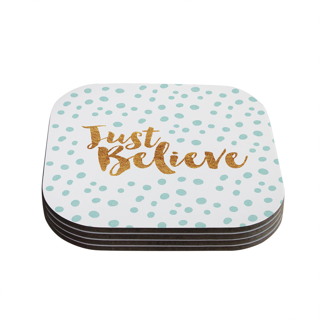 "Nick Atkinson ""Just Believe"" White Gold Coasters (Set of 4)"