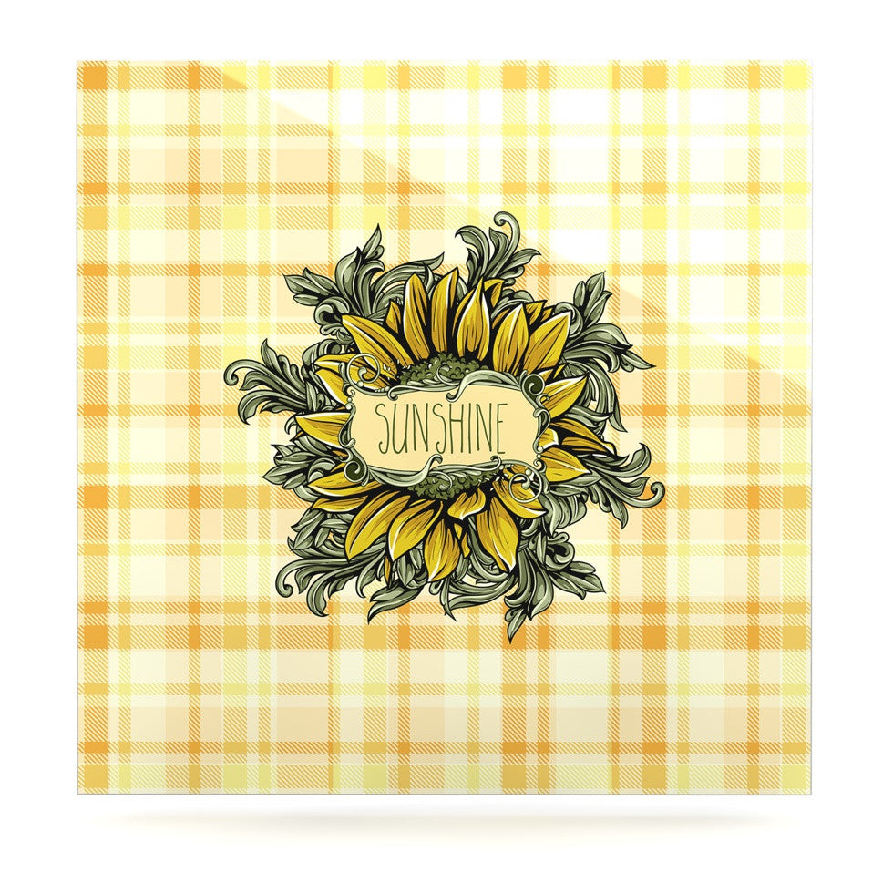"Nick Atkinson ""Sunflower Sunshine"" Yellow Gold Luxe Square Panel - KESS InHouse  - 1"