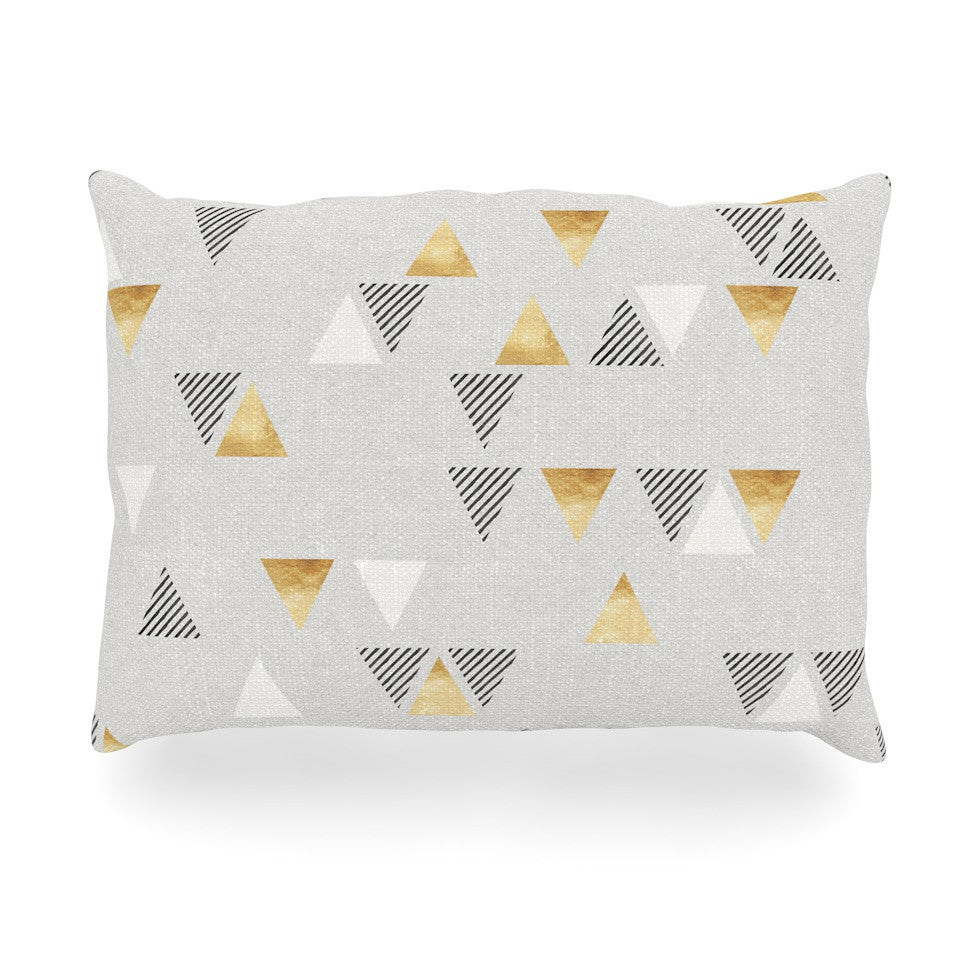 "Nick Atkinson ""Triangle Love"" Gray Gold Oblong Pillow - KESS InHouse"