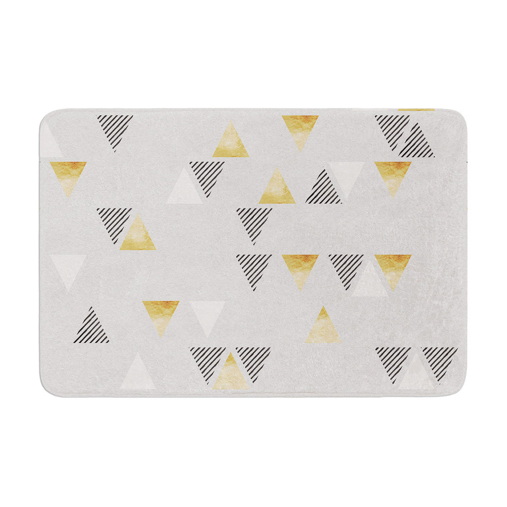 "Nick Atkinson ""Triangle Love"" Gray Gold Memory Foam Bath Mat - KESS InHouse"