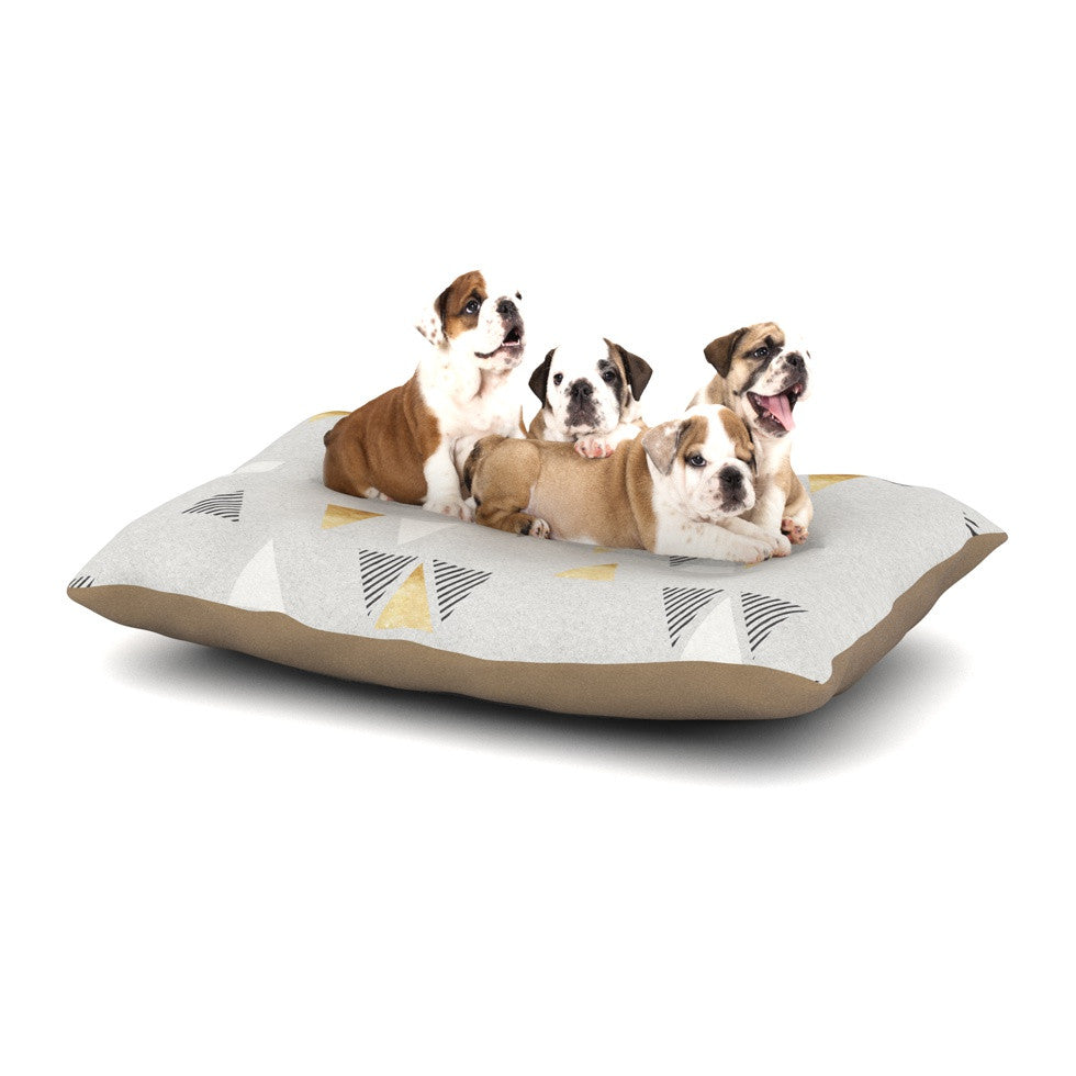 "Nick Atkinson ""Triangle Love"" Gray Gold Dog Bed - KESS InHouse  - 1"