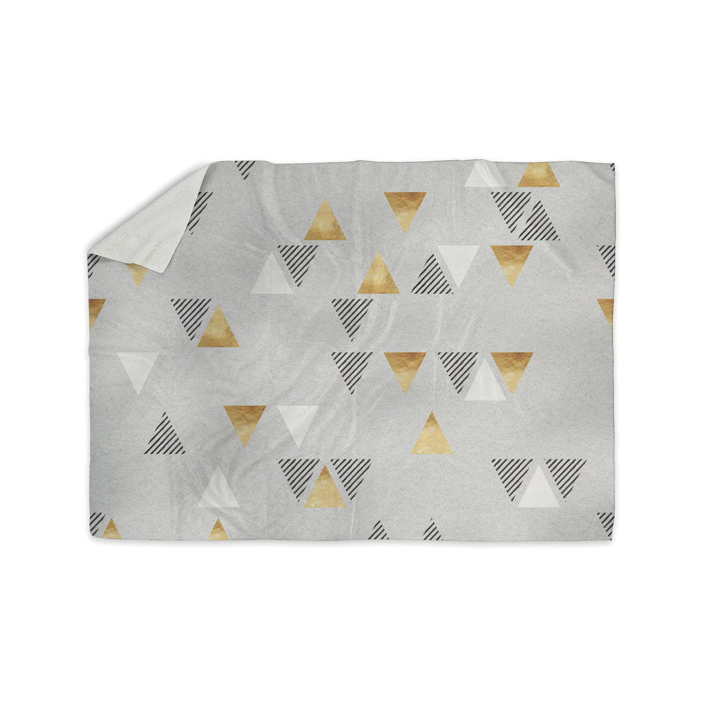 "Nick Atkinson ""Triangle Love"" Gray Gold Sherpa Blanket - KESS InHouse  - 1"