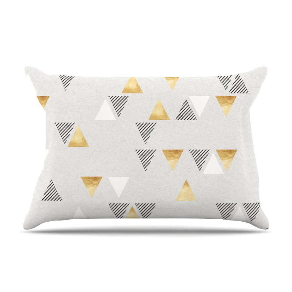 "Nick Atkinson ""Triangle Love"" Gray Gold Pillow Sham - KESS InHouse"