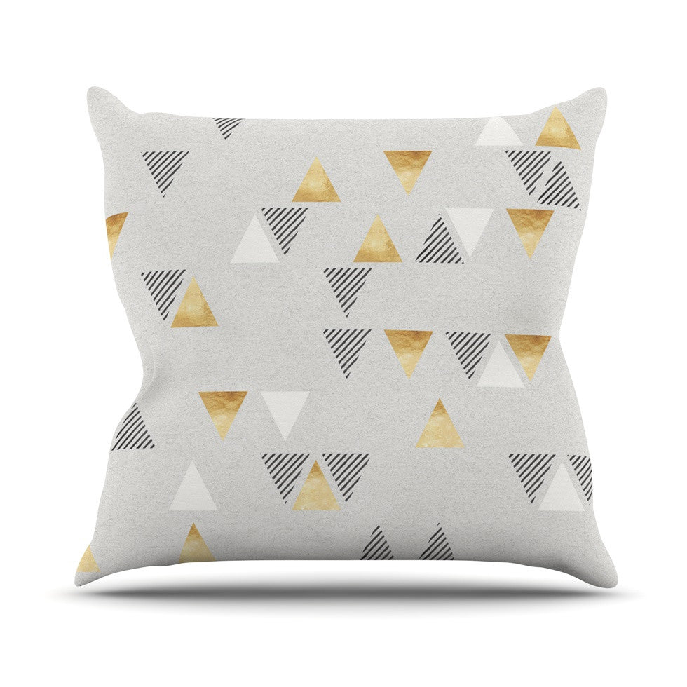 "Nick Atkinson ""Triangle Love"" Gray Gold Throw Pillow - KESS InHouse  - 1"