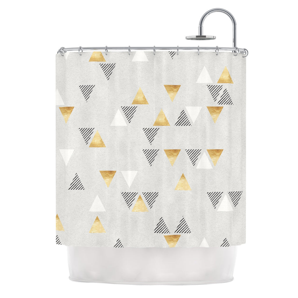 "Nick Atkinson ""Triangle Love"" Gray Gold Shower Curtain - KESS InHouse"