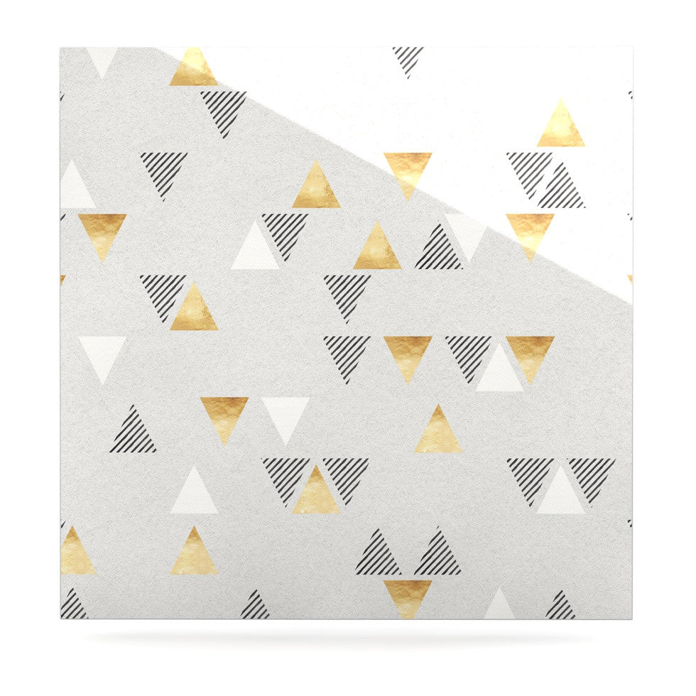 "Nick Atkinson ""Triangle Love"" Gray Gold Luxe Square Panel - KESS InHouse  - 1"