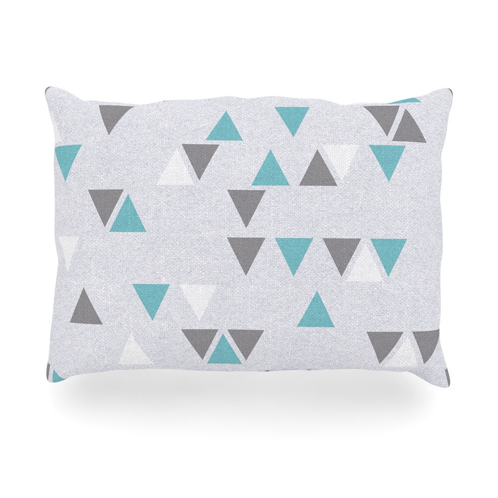 "Nick Atkinson ""Triangle Love II"" Gray Teal Oblong Pillow - KESS InHouse"