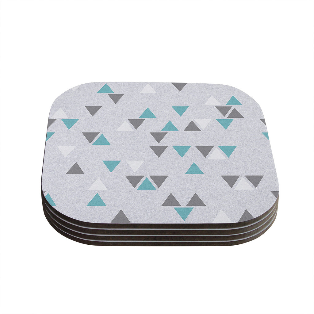 "Nick Atkinson ""Triangle Love II"" Gray Teal Coasters (Set of 4)"