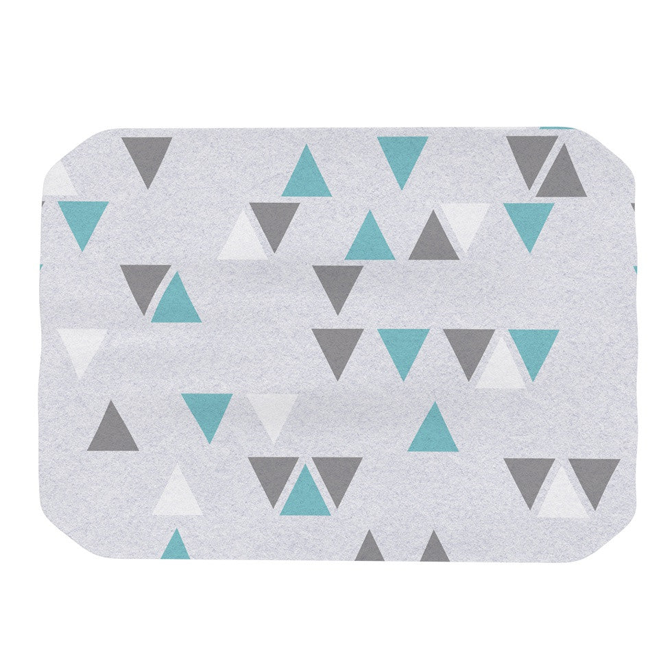 "Nick Atkinson ""Triangle Love II"" Gray Teal Place Mat - KESS InHouse"