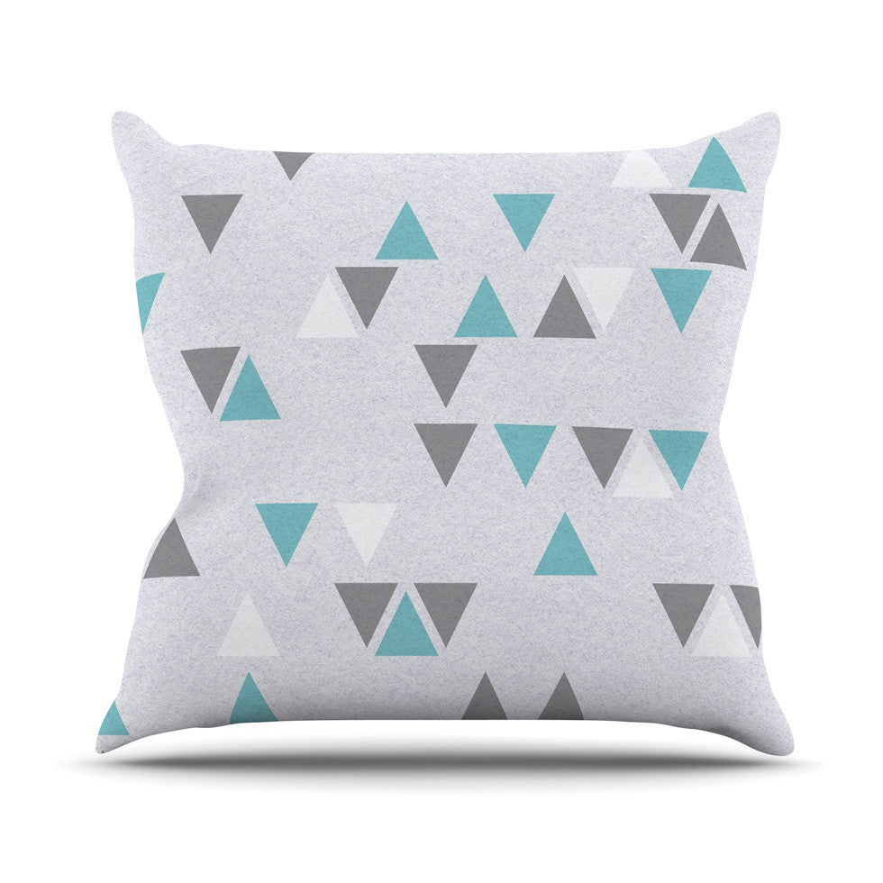 "Nick Atkinson ""Triangle Love II"" Gray Teal Throw Pillow - KESS InHouse"