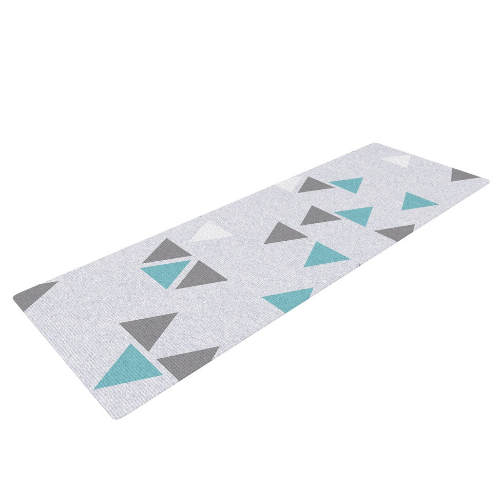 "Nick Atkinson ""Triangle Love II"" Gray Teal Yoga Mat - KESS InHouse  - 1"