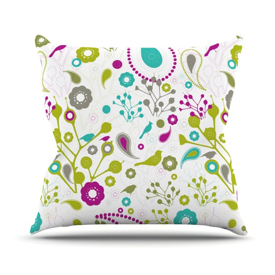 "Nicole Ketchum ""Bird Fantasy"" Throw Pillow - KESS InHouse  - 1"
