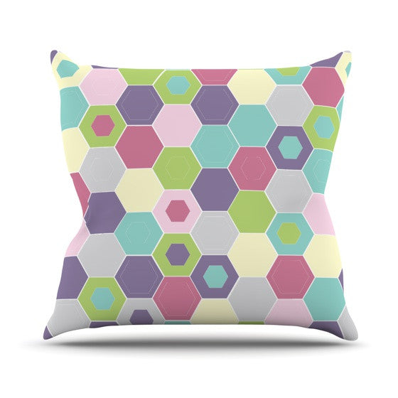 "Nicole Ketchum ""Pale Bee Hex."" Outdoor Throw Pillow - KESS InHouse"