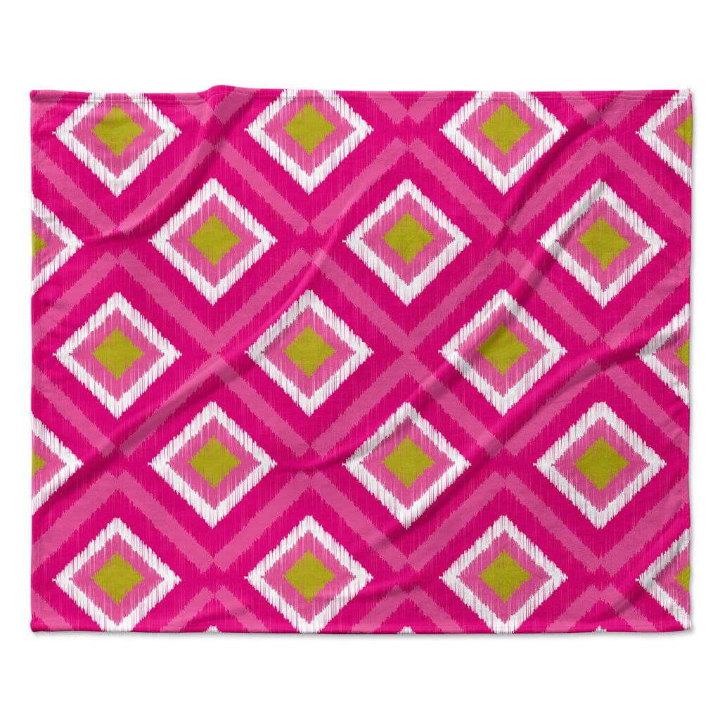 "Nicole Ketchum ""Moroccan Hot Pink Tile"" Fleece Throw Blanket"