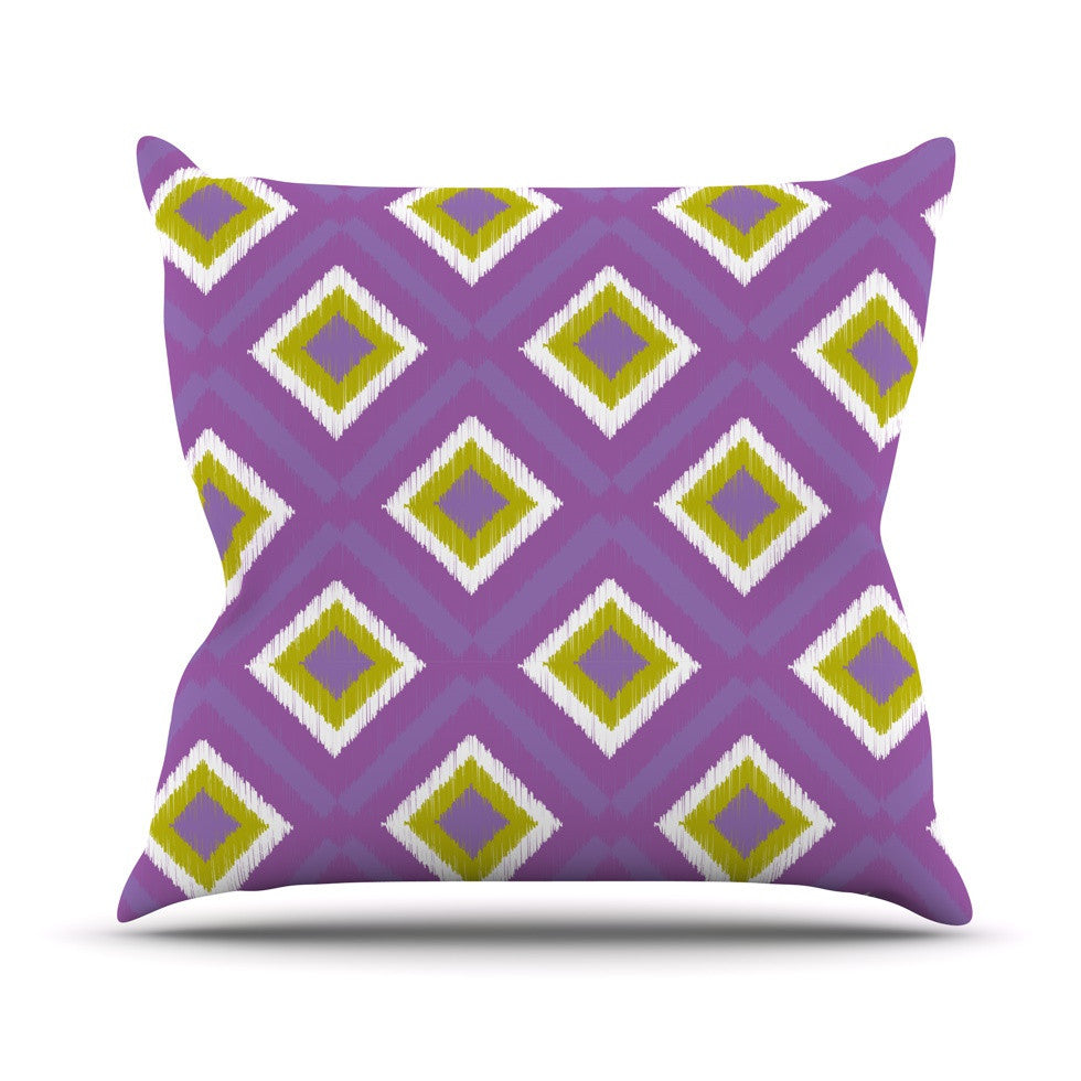 "Nicole Ketchum ""Purple Spash Tile"" Outdoor Throw Pillow - KESS InHouse  - 1"