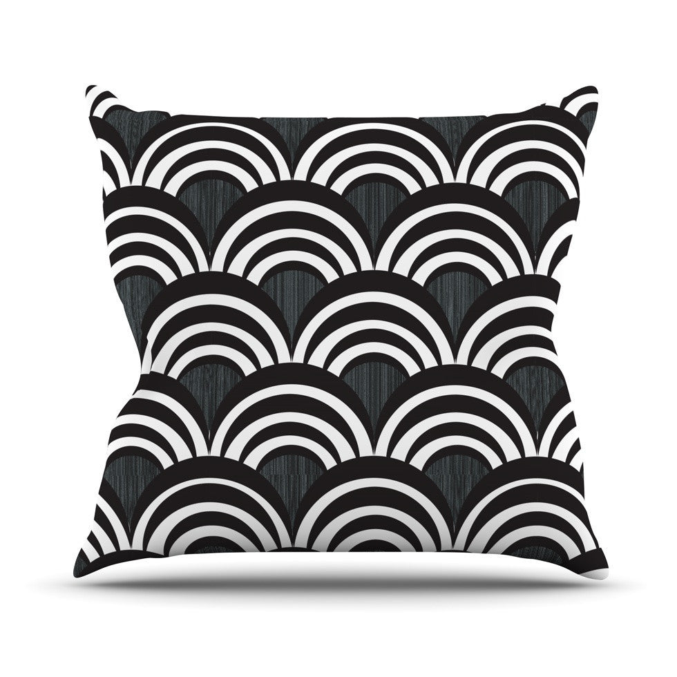 "Nicole Ketchum ""Art Deco Black"" Outdoor Throw Pillow - KESS InHouse  - 1"