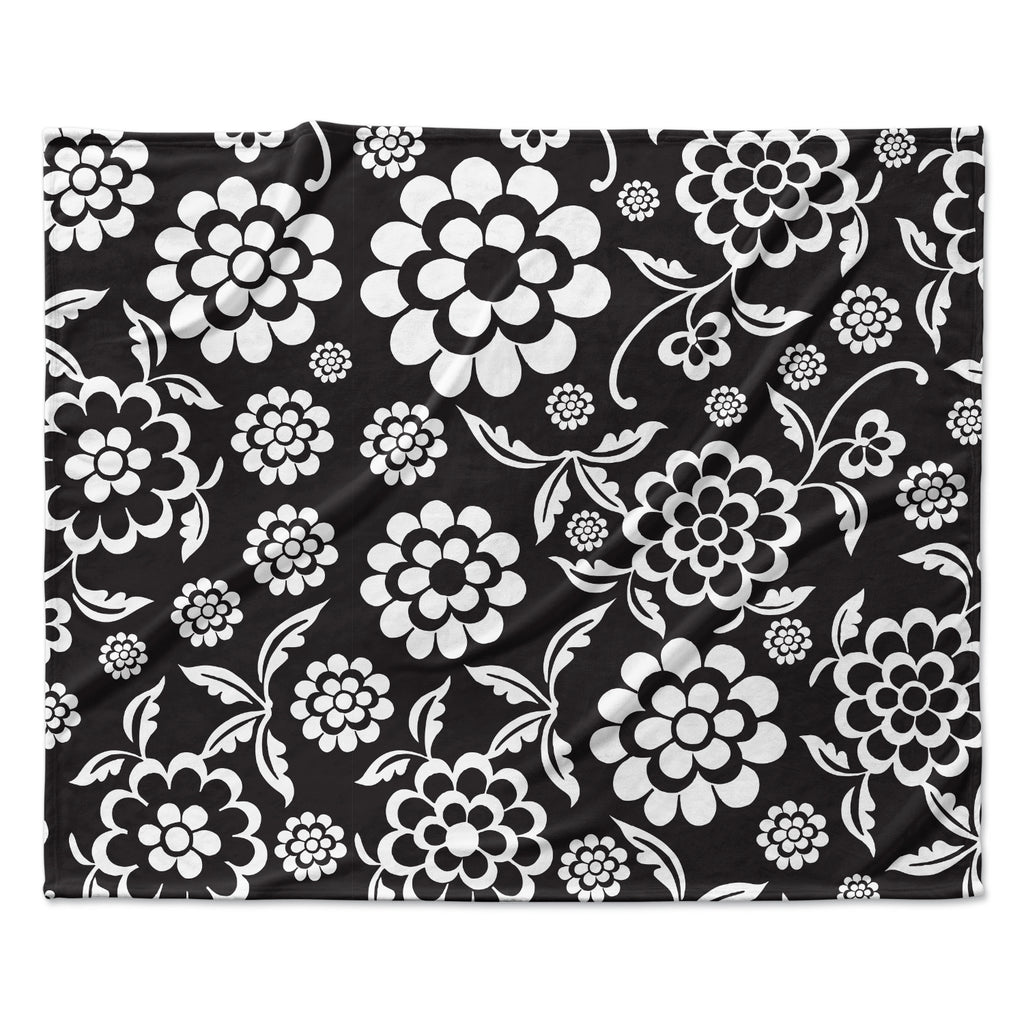 "Nicole Ketchum ""Cherry Floral Black"" Fleece Throw Blanket"