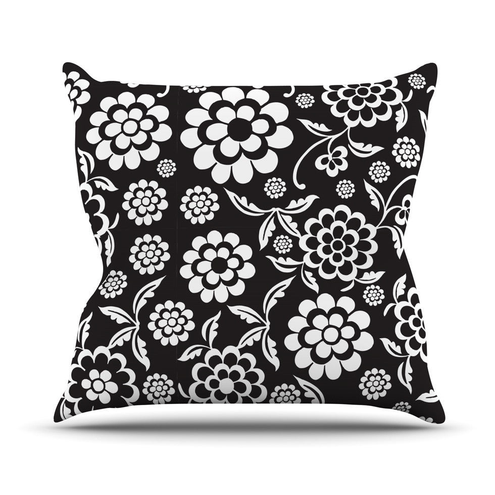 "Nicole Ketchum ""Cherry Floral Black"" Outdoor Throw Pillow - KESS InHouse  - 1"