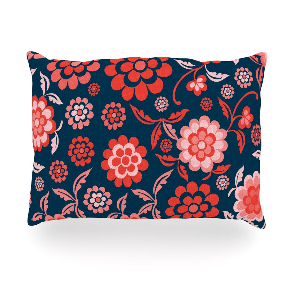 "Nicole Ketchum ""Cherry Floral Midnight"" Oblong Pillow - KESS InHouse"