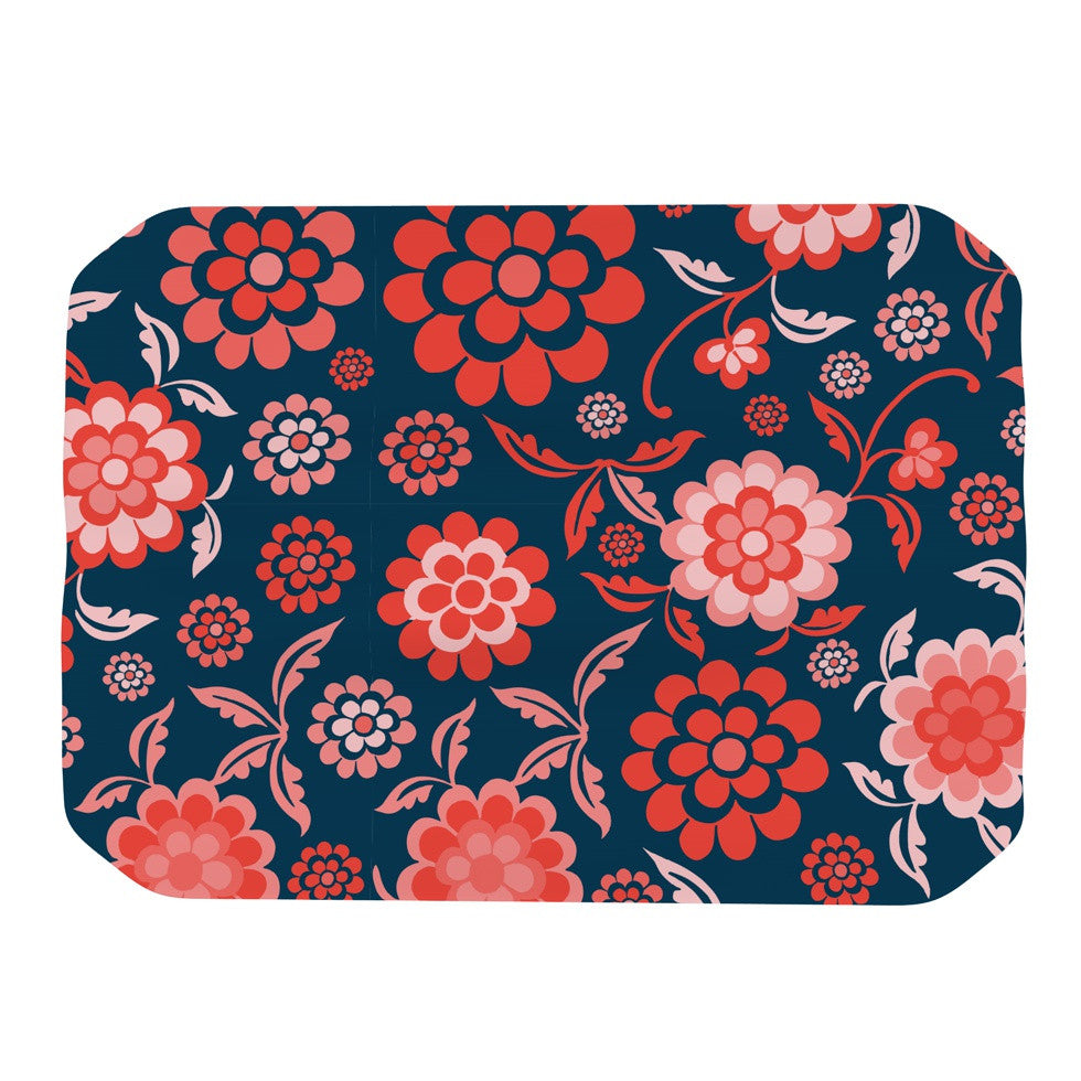 "Nicole Ketchum ""Cherry Floral Midnight"" Place Mat - KESS InHouse"
