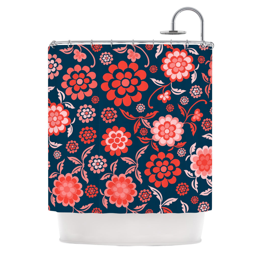 "Nicole Ketchum ""Cherry Floral Midnight"" Shower Curtain - KESS InHouse"