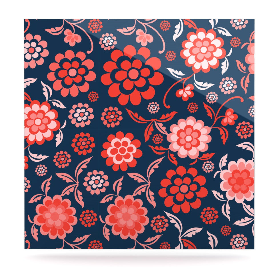 "Nicole Ketchum ""Cherry Floral Midnight"" Luxe Square Panel - KESS InHouse  - 1"