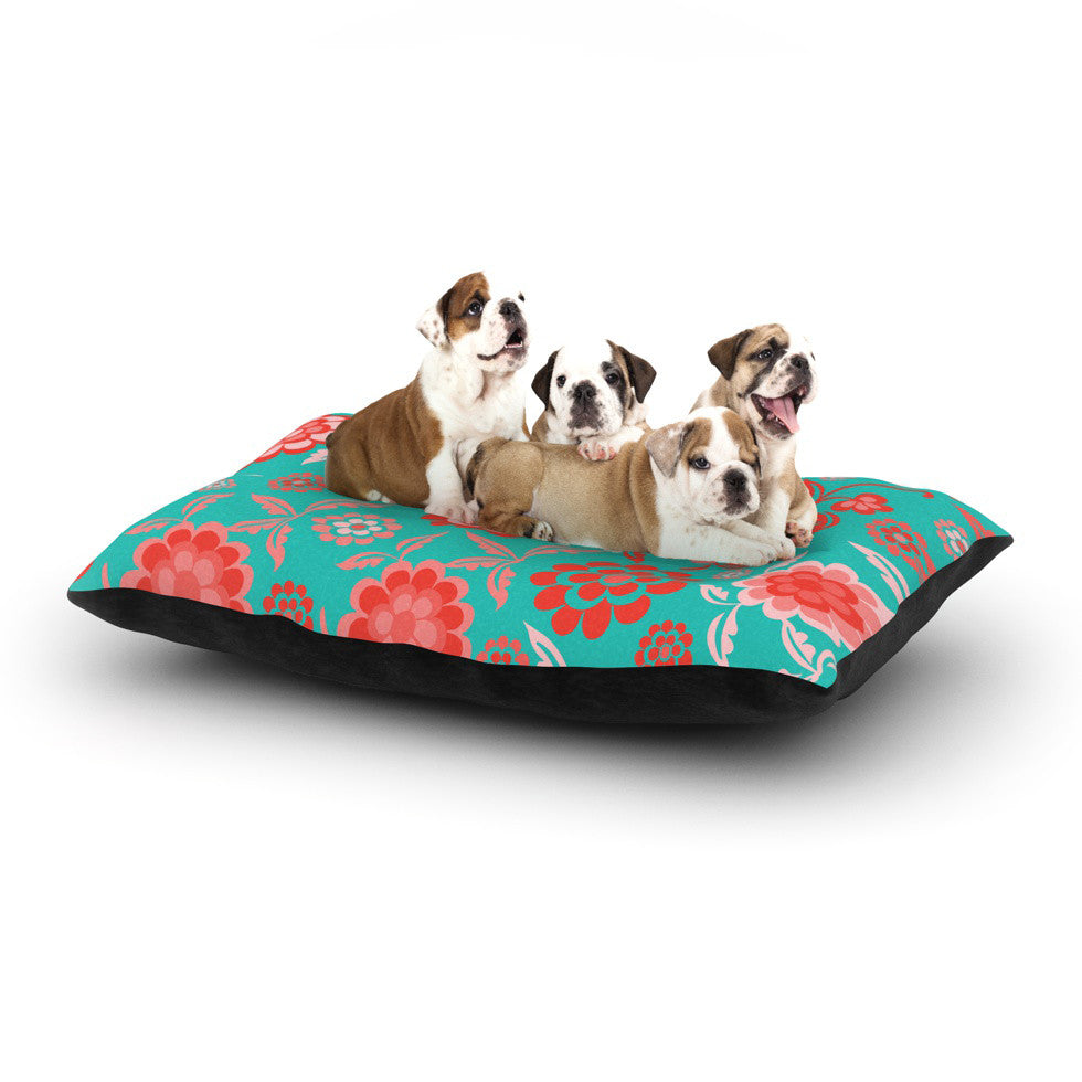 "Nicole Ketchum ""Cherry Floral Sea"" Dog Bed - KESS InHouse  - 1"