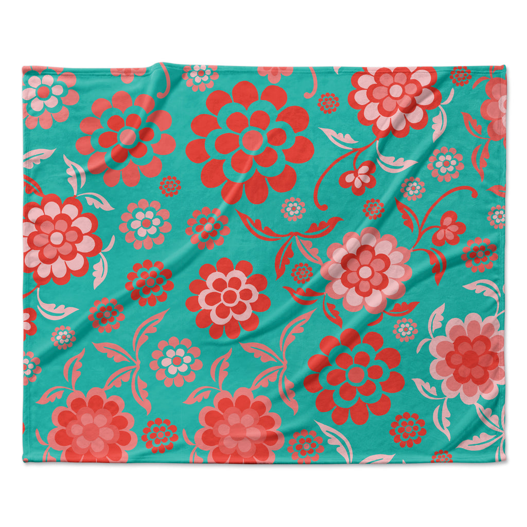 "Nicole Ketchum ""Cherry Floral Sea"" Fleece Throw Blanket"