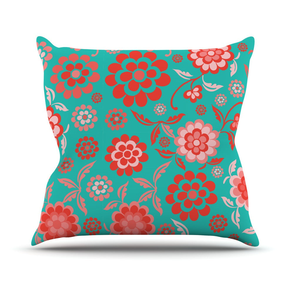 "Nicole Ketchum ""Cherry Floral Sea"" Outdoor Throw Pillow - KESS InHouse  - 1"