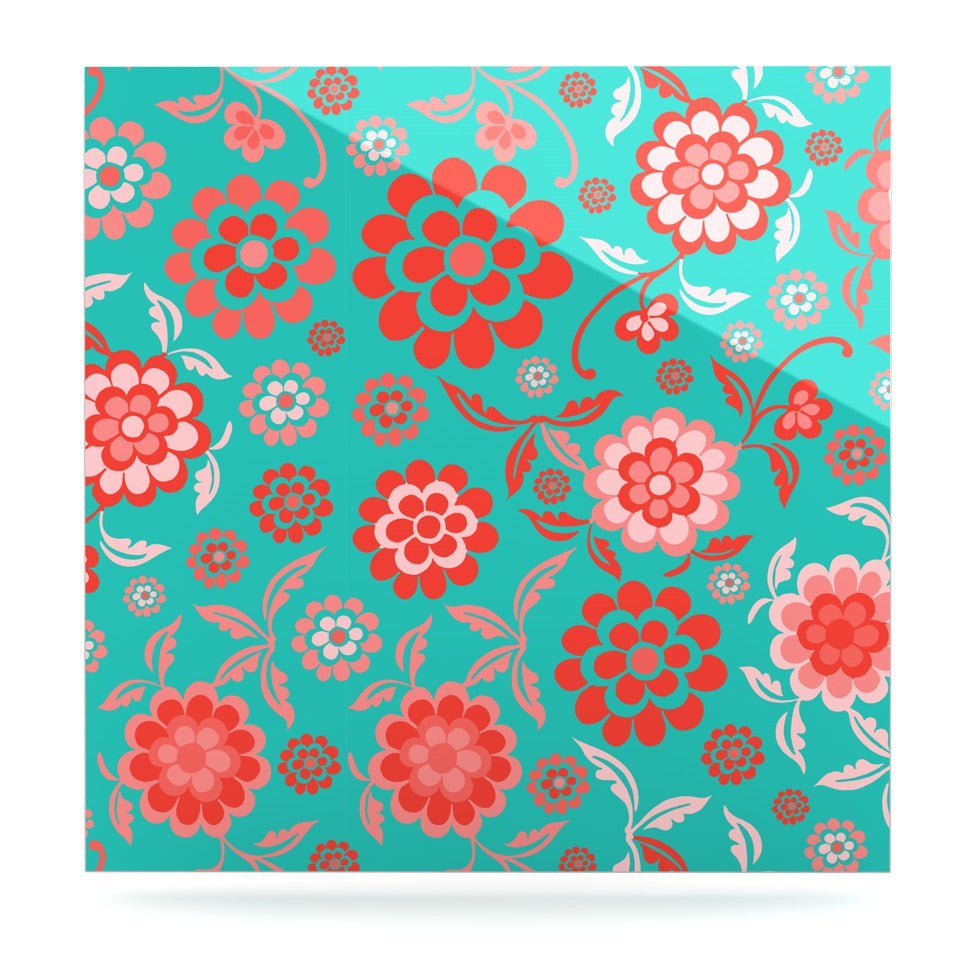 "Nicole Ketchum ""Cherry Floral Sea"" Luxe Square Panel - KESS InHouse  - 1"