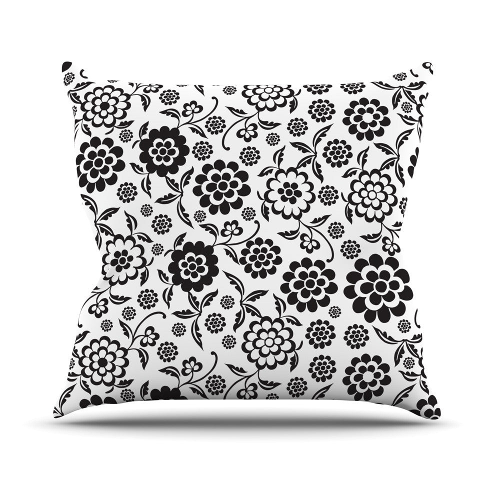 "Nicole Ketchum ""Cherry Floral White"" Throw Pillow - KESS InHouse  - 1"