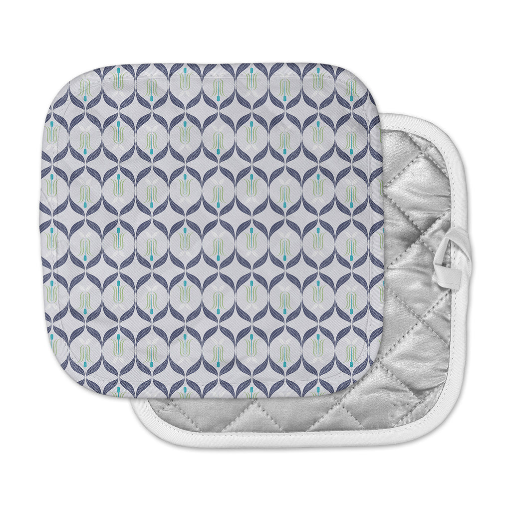 "Neelam Kaur ""Cool Blue Reminiscence"" Blue Coral Digital Pot Holder"