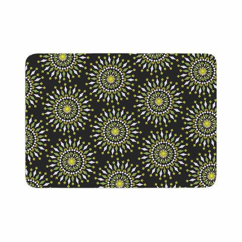 "Neelam Kaur ""Floral Mandala"" Black Green Illustration Memory Foam Bath Mat"