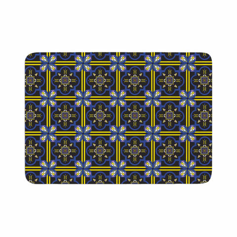 "Neelam Kaur ""Tile"" Black Blue Illustration Memory Foam Bath Mat"