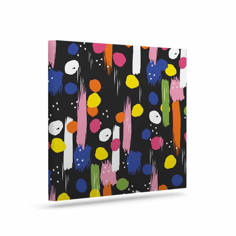 "Neelam Kaur ""Brushstrokes - Pantone Rev It Up"" Black Multicolor Illustration Canvas Art"