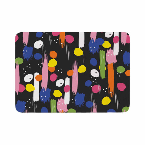 "Neelam Kaur ""Brushstrokes - Pantone Rev It Up"" Black Multicolor Illustration Memory Foam Bath Mat"