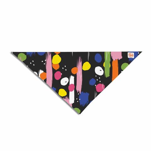 "Neelam Kaur ""Brushstrokes - Pantone Rev It Up"" Black Multicolor Illustration Pet Bandana"
