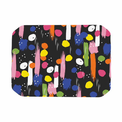 "Neelam Kaur ""Brushstrokes - Pantone Rev It Up"" Black Multicolor Illustration Place Mat"